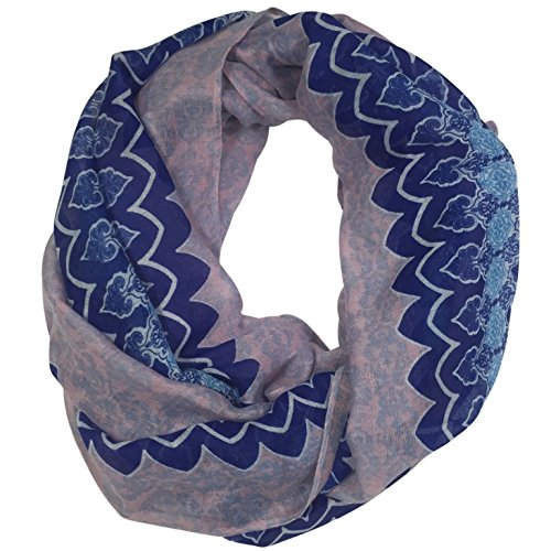Moroccan Marrakesh Pattern Multi Color Lightweight Thin Poly Infinity Scarf (Blue & Pink) Moroccan Jewel