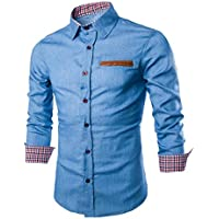 Mens Casual Camisa, funic elegante Slim Fit–Camisa de manga larga casual tops, Tejido mixto de algodón, Azul claro, M