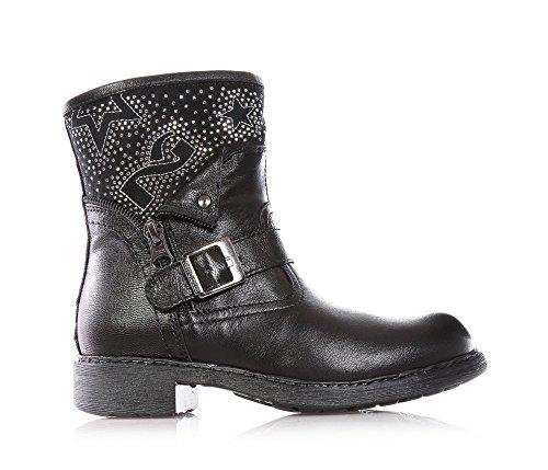 NERO GIARDINI - Botte noire, en cuir, glissière latérale, boucle décorative,strass, fille,filles,enfant,femme