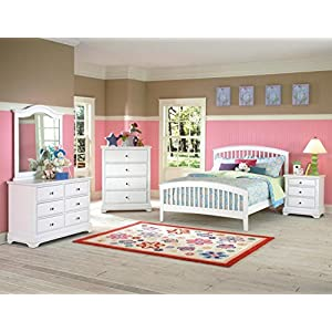 NCF Furniture Beatrice Youth Full Slat Bedroom Set in White Finish
