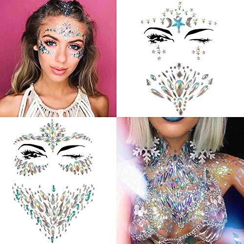 COKOHAPPY 4 Sets Rhinestone Mermaid Face & Breast Jewels Tattoo - Star Body Stickers Crystal Tears Gem Stones Bindi Temporary Stickers