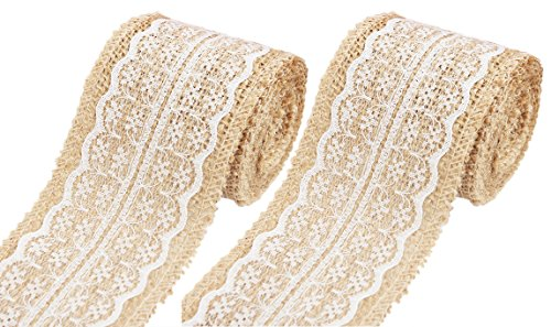 (Burlap Ribbon for Crafts, Lace Ribbon, Floral Rustic Ribbon-HipGirl White Lace Trims Burlap Tape Jute Natural Ribbon, Burlap Roll with Lace-for Rustic Wedding Decorations. 156in,2.36