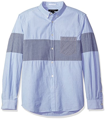 (French Connection Men's Long Sleeve Printed Regular Fit Button Down Shirt, Marine Blue City Stripe,)