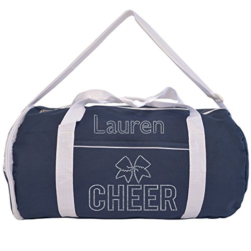 Kaysees Personalized Two-Tone Sport CHEER Duffel Bags with Cheerleader's Name Navy Blue]()