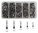 #2: 300pcs/lot Fishing Swivel Snaps Copper & Stainless Steel Rolling Swivel Interlock Snap Lure Connectors Accessories Fishing Tackle Box Kit Size 2,4,6,8,10