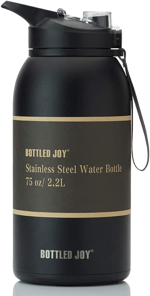 BOTTLED JOY Stainless Steel Water Bottle with Straw Lid, BPA Free 32oz/ Half Gallon/Gallon Large Water Bottle Dual Lid Vacuum Insulated BPA-Free Metal Thermos Mug for Camping Workouts and Outdoor