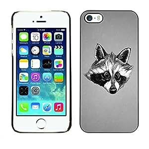 Paccase / SLIM PC / Aliminium Casa Carcasa Funda Case Cover para - Black & White Friendly Raccoon - Apple Iphone 5 / 5S