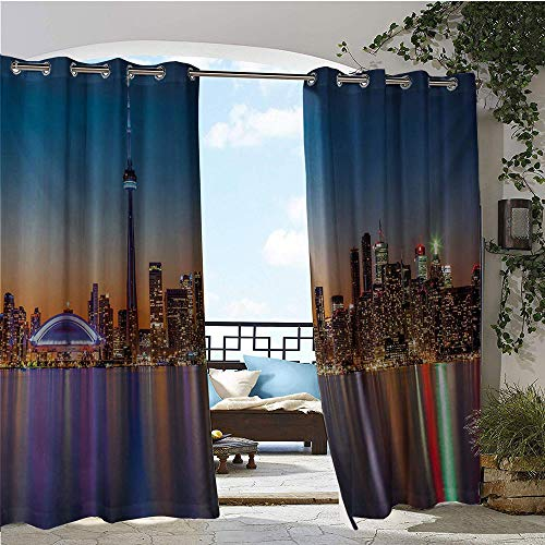 Mademai Landscape Sheer Curtains Urban Theme A Cityscape View of Toronto and The Skyscrapers at Dusk Digital Print Door Panel Curtain Dark Blue W104 x L96 in (Curtains Toronto Sheer)