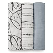 aden + anais Silky Soft Swaddle Baby Blanket, Viscose Bamboo Muslin, Large 47 X 47 inch, 3 Pack, Moonlight