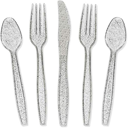 Juvale Silver Glitter Plastic Cutlery Set of 32 Forks Knives and Spoons ()