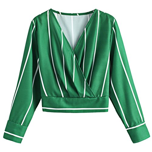 Clearance Womens T Shirt on Sale vermers 2018 New Women Striped Blouse Long Sleeve V-Neck Casual Chiffon Tops(M, Green) ()