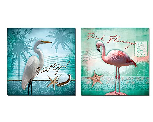 Purple Verbena Art White Egret and Pink Flamingo with the Conch