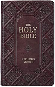 KJV Holy Bible, Giant Print Standard Bible, Dark Brown Faux Leather Bible w/Thumb Index and Ribbon Marker, Red