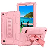 Fire 7 2015 Case,ARMORCOO(TM) High Impact Resistant Dual Layer Hybrid Defender Shockproof with Kickstand Armor Cover for Amazon Fire 7 Inch Tablet (5th Gen,2015 Release) (Rose Gold)