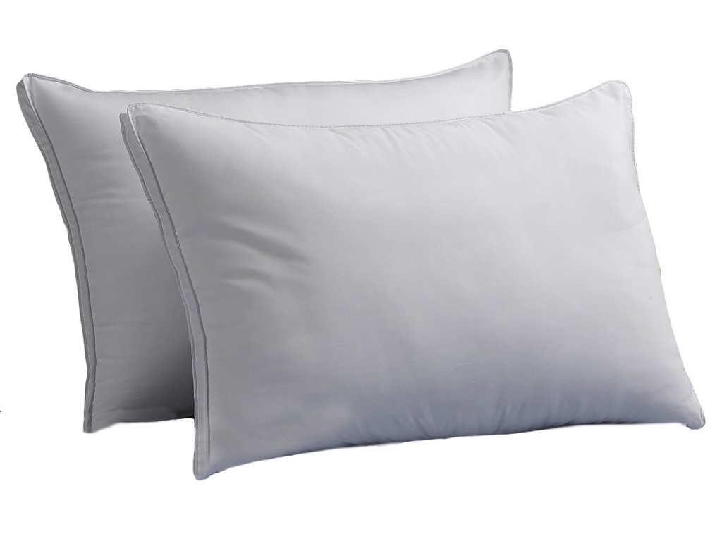 FIRM Exquisite Hotel Luxury Plush Down-Alternative Pillows 2-Pack, Queen Size, Gel-Fiber Filled, Hypoallergenic, Peachy FIRM Microfiber Gusseted shell - FIRM Density, Ideal For Side/Back Sleepers