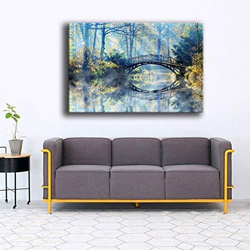 DSGTR Art Craft Lienzo Pintura/Pintura Arte de la Pared otono Niebla Naturaleza Puente Pintura Tipo de impresion invitado/impresion bano decoracion Cuadro de la Pared Dormitorio Lienzo de Cabe