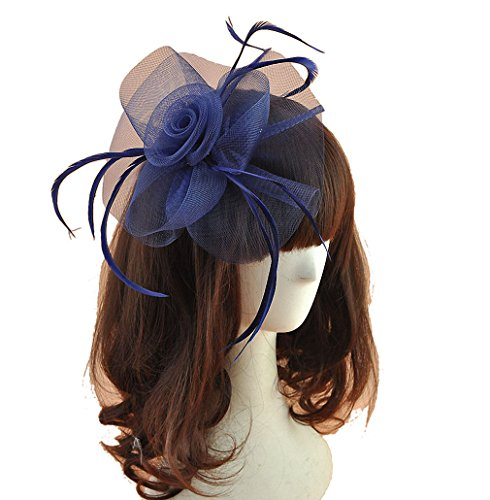 Hat Boxes Easter (Women Fascinators Hair Clip Headband Hat Veil Flower Derby Cocktail Tea Party Church Headwear (Navy blue))