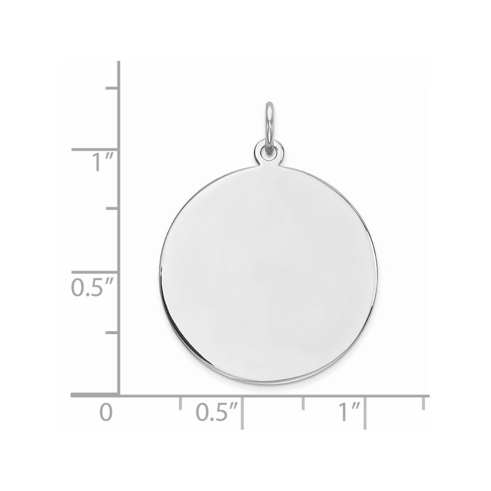 1IN long x 0.8IN wide Sterling Silver Engravable Round Disc Charm