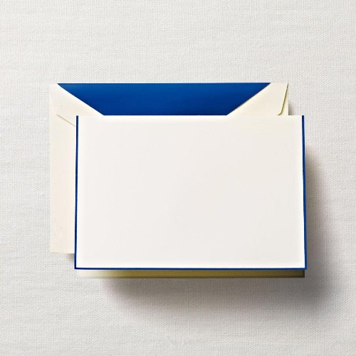 Crane & Co. Regent Blue Bordered Ecruwhite Note with Lined Envelopes