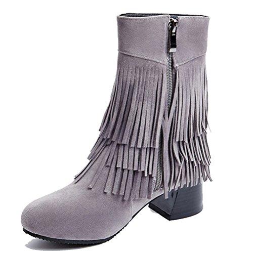 HiTime Women's Sweet Fringed Bootie Mid Block Heels Zip Short Boots School Teens Girls Dress Moccasin Boots Grey