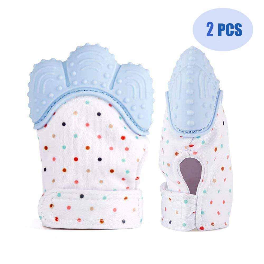 Soyar bunte Baby Zahnen Fä ustlinge, beruhigende Pain Relief-Alter 3-12 Monate schü tzt Babys Hä nde von Salvia & kauen sichern Verstellbarer Gurt.-Pastell blau