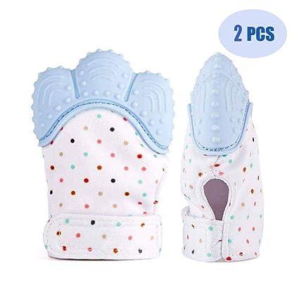 SOYAR Multicolor Baby dentición Manoplas, Pain Relief tranquilizadora de edad 3 – 12 meses protege manos bebés de salvia & kauen copias ajustable ...