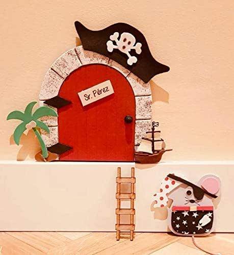 Puerta mágica Ratoncito Pérez PIRATA MADERA que se abre, incluye ratón guardadientes y escalera.: Amazon.es: Handmade