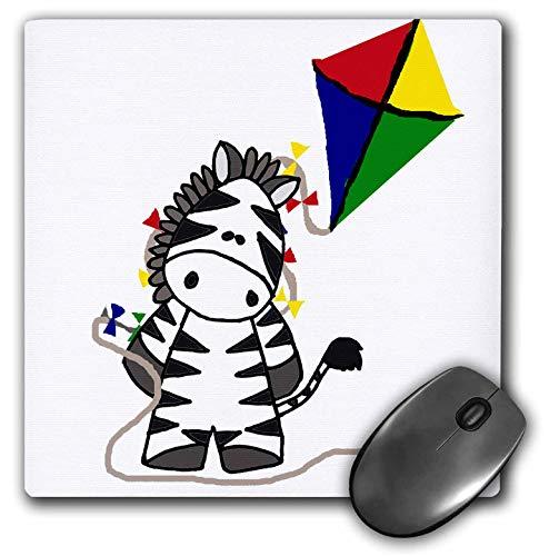 3dRose All Smiles Art - Animals - Cute Funny Zebra Flying Kite Cartoon - Mousepad (mp_298934_1)