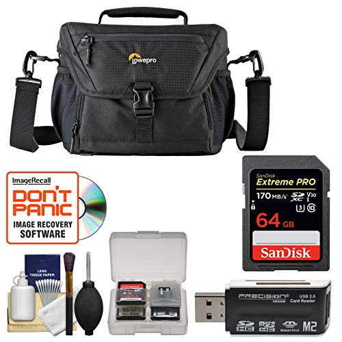180 Aw Camera Bag - Lowepro Nova 180 AW II Camera Bag Case (Black) with 64GB Card + Cleaning Kit