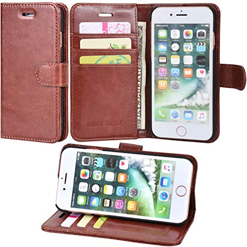iPhone 7 Case, iPhone 8 case, Wisdompro Premium PU Leather 2-in-1 Protective [Folio Flip] Wallet Case with Kickstand & Credit Card Holder Slots for Apple iPhone 7, iPhone 8 [Brown]