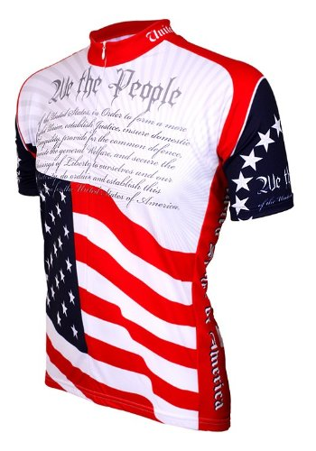 World Jerseys Men's U.S. Constitution Cycling Jersey, Red/White/Blue, XX-Large