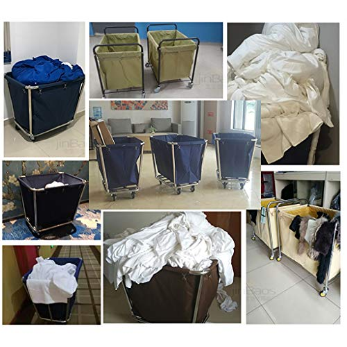 Hotel Cart, Carbon Steel Thick Linen car Hotel Hotel Room Cleaning Hand Push Work car by HT trolley (Image #2)