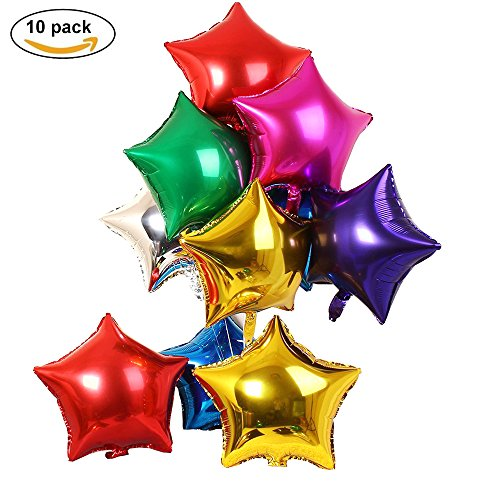"Langxun 10 Pcs 24"" Mylar Star Balloons Air-filled / Helium Balloons for Birthday & Party & Wedding Anniversary Decoration ( GOLD RED BLUE GREEN SILVER )"