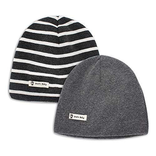 MK MATT KEELY Infant Soft Hat Toddler Cotton Hat Kids Boys Casual Beanie Hat for 4-8 Years Baby 2-Pack Deep Grey