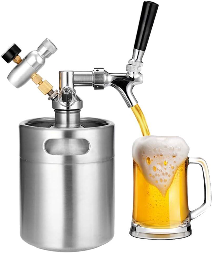 NECZXW1 Mini Barril de Cerveza 2L, Kit portátil de dispensador de Barril Kegerator, Material de Acero Inoxidable 304 Duradero de Grado alimenticio, Compacto y fácil de almacenar y Limpiar