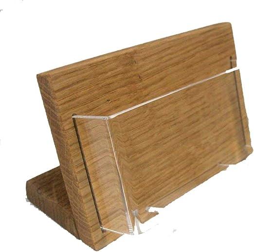Linlay Intarsien Gravuren Visitenkartenhalter Aus Holz Querformat Prospekthalter Tischmodell Massiv Eiche Mit Acryleinsatz