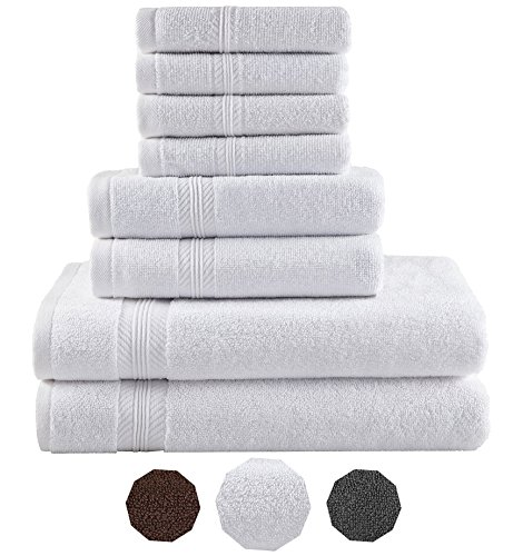 Premium Hotel Quality, 8 Piece Bathroom Towel Set; 2 Bath Towels, 2 Hand Towels, and 4 Washcloths – 100% Ringspun Cotton, Ultra Softness & Absorbency by American Bath Towels, Cotton White