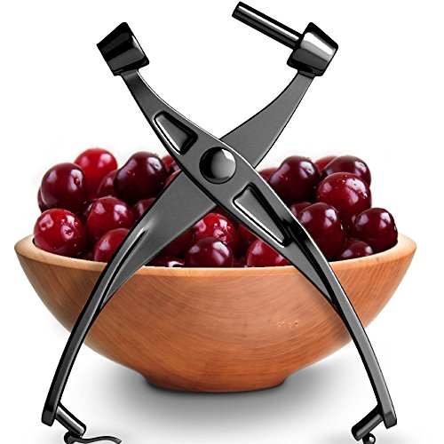 (Cherry Pit Remover - Olive Pitter Heavy Duty | Quality Finish | Includes Cherry Recipe EBOOK (Black))