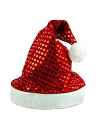 Fashion Christmas Paillette Decoration Cosplay Santa's Party Happy Soft Warm Hat Cap Red