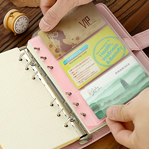 DadaCrafts(TM) 5-Packs Clear Plastic Pockets for A6 6-Ring Notebook Binder (Holds Name Cards, Credit Cards...)