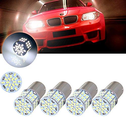 cciyu 4pcs 1156 54SMD White Led Light bulbs for Back Up Reverse Lights, Brake Lights, Tail Lights, RV lights by CCIYU