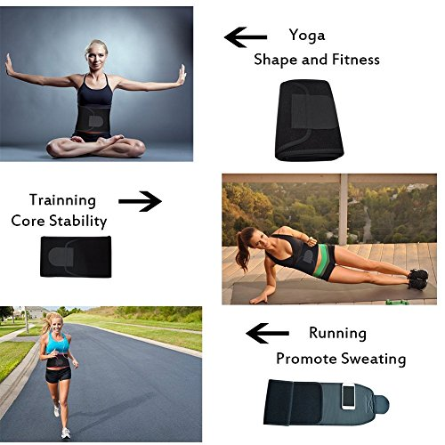 Singular point Waist Trimmer,Best Abdominal Trainer Fast Weight Loss Wrap Adjustable Sweat Belt for Men and Women Lumbar Support Increased and Stomach Fat Burner with Sauna Suit Effect (Black, M) by Singular point (Image #5)