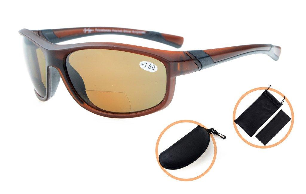Gr8Sight gafas de sol bifocales de lectura polarizadas gafas tintadas Womens Wraparound estilo de diseño Sports UV 400 protección lectores de sol Marrón ...