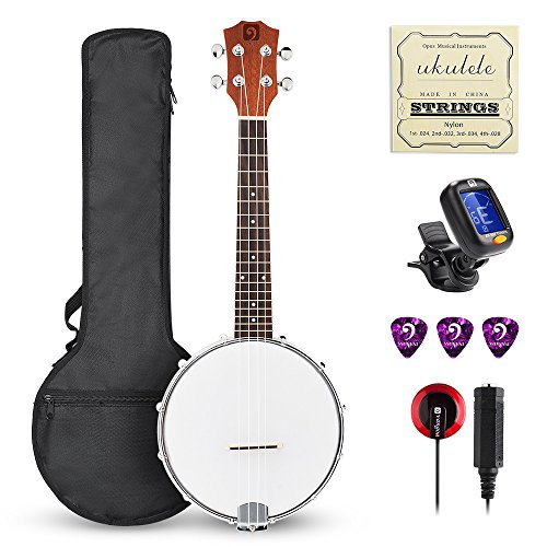 Vangoa Concert Banjo Ukulele Kit- 23 Inch 4 Strings Banjo Ukulele with Padded Bag, Tuner, Pick, Nylon Strings and Pickup