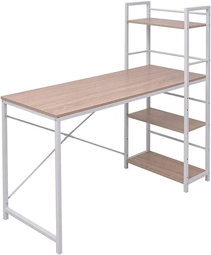 Escritorio con estantería,Escritorios y mesas para ordenador,Escritorio con estantería de 4 niveles roble,120 x 52 x 120 cm: Amazon.es: Oficina y papelería