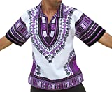 RaanPahMuang Brand European Collar Short Sleeve Shirt African White Dashiki Art, Medium, Purple For Sale