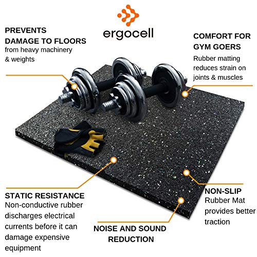 Ergocell Recycled Rubber Floor Mat – Shock Absorbent Gym Mat Flooring & Horse Stall Mat | Three Thicknesses, Multiple Sizes | 3/8'' - 2' x 4' by Ergocell (Image #6)