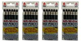 All-Write Wax Pencils Mechanical Twist Top Retractable Grease Markers China Marking Pen, Black, 24-Count
