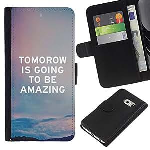 For Samsung Galaxy S6 EDGE Case , Quote Sky Amazing Text - la tarjeta de Crédito Slots PU Funda de cuero Monedero caso cubierta de piel