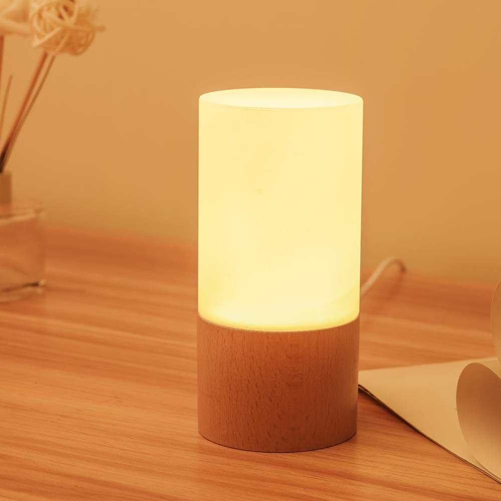 Small LED Wood Table Lamp, Bedroom Bedside Night Light, Dimmable Led Lighting, Creative Home Decor Table lamp, Unique House Natural Beech warmging Gift Wood lamp